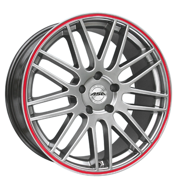 tire - 8x17 5x100 ET35 ASA GT 1 silber shiny silber mit rotem Ring Offroad full year from 17.5