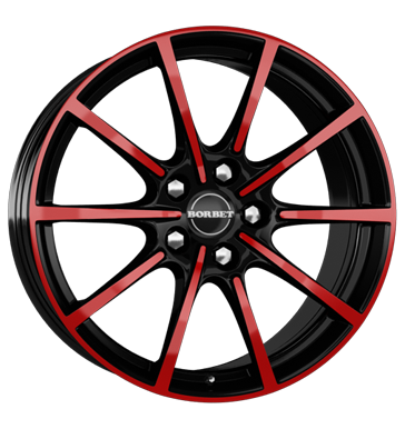 tire - 8x18 5x112 ET50 Borbet BL5 mehrfarbig black red glossy Car electric Rims / Alu Helmet accessories and visors Hoses tyres