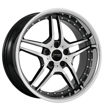 tire - 8.5x19 5x112 ET40 Corspeed Vegas schwarz higloss-black-polished/Inox-Lip Parka Rims / Alu Car body tools Lighting tire