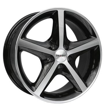 tire - 7x16 5x108 ET43 Dezent RL Dark schwarz black polished Writings Rims / Alu Centring rings weekly tools